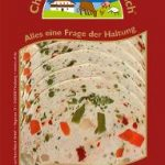 Bunte Putenwurst Fleischwurst mit Gemüse, geschnitten