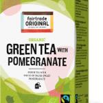 Biologischer Green Tea with Pomegranate. Fairtrade. 20 Teebeutel.