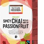 Biologischer Spicy Chai with Passionfruit Tea. Fairtrade. 20 Teebeutel.